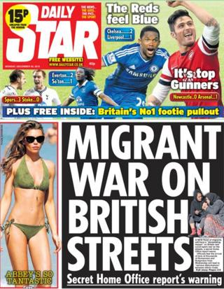 Daily Star front page 30/12/13