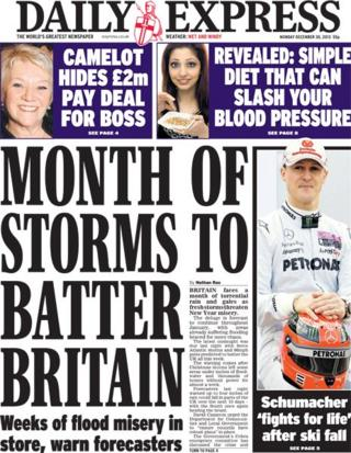 Daily Express front page 30/12/13