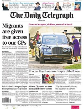Daily Telegraph front page 30/12/13