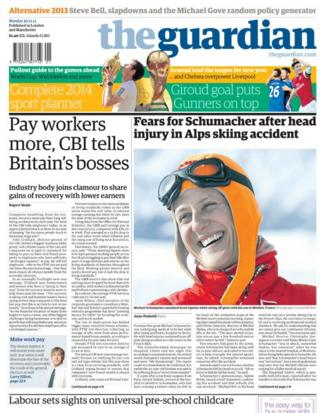 Guardian front page 30/12/13