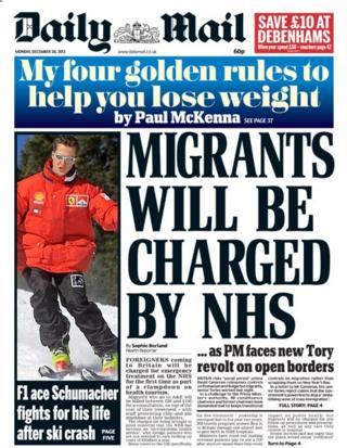 Daily Mail front page 30/12/13