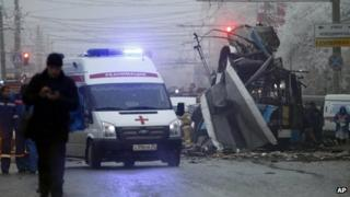 An ambulance leaves the site of a trolleybus explosion in Volgograd, Russia