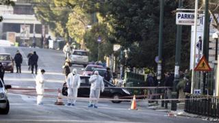 Scene of attack in Athens, 30 Dec 13
