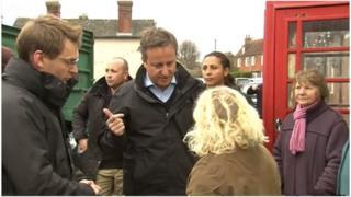 David Cameron talking to Erica Olivares
