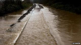 Railway line flooding between Cwmbach and Aberaman, near Aberdare