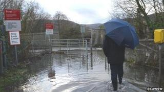 A flooded railway line just south of Aberdare