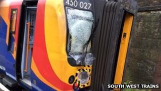 One of 23 trains in the South West Trains fleet damaged in recent storms.