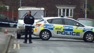 Police cordon at the junction at Trafalgar Street and Beverley Road, Hull