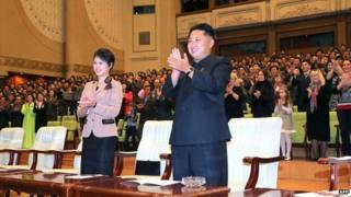 File photo: North Korean leader Kim Jong-un, right, and his wife, Ri Sol-ju, left