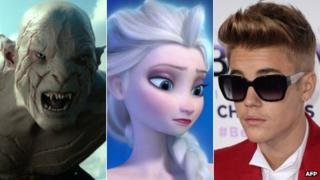 Justin Bieber (r) next to images from The Hobbit: The Desolation of Smaug and Frozen