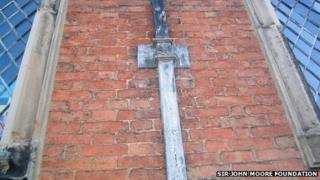An example of lead downpipe that was stolen from the Sir John Moore building