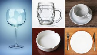 Empty wine glass, beer glass, coffee cup, plate, ashtray