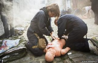 Marielle Van Uitert participates in a RISC medical training exercise in London