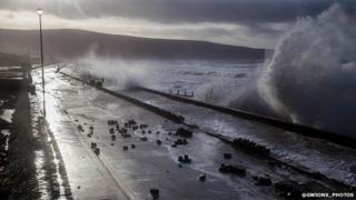 Barmouth sea front in Gwynedd, earlier on Friday