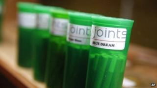 Different strains of marijuana are displayed for sale at The Clinic, a Denver-based dispensary (December 2013)