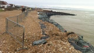 Partially-collapsed sea defences