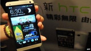 HTC One phone on display