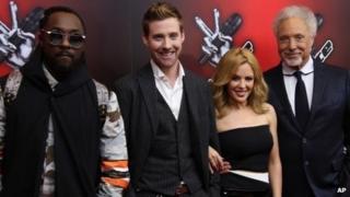 will.i.am, Ricky Wilson, Kylie Minogue and Sir Tom Jones
