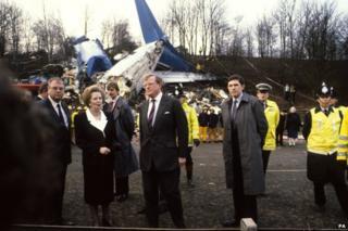 Margaret Thatcher at the crash scene the morning after
