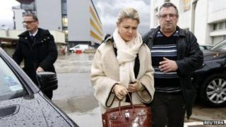 Corinna Schumacher arrives at the CHU hospital emergency unit in Grenoble on 3 January