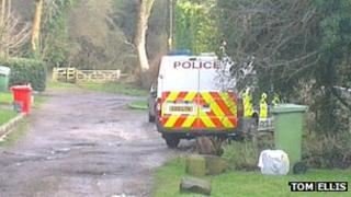 Scene in Kemsley Road, Tatsfield, where a man was stabbed