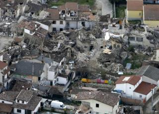 Buildings in the village of Onna near L'Aquila, shattered in the earthquake of 2009 (file photo)