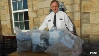Insp Roy Robinson with some of the cannabis that was seized in Enniskillen