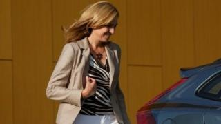 Princess Cristina walks to her car on September 25, 2013.
