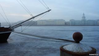 Boat and Neva River