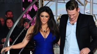 Casey Batchelor and Lee Ryan leaving the Big Brother house