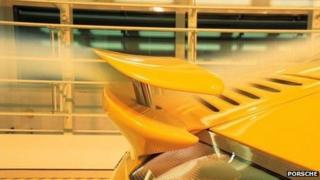 Porsche in wind tunnel