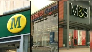 Morrisons, Tesco and M&S store fronts