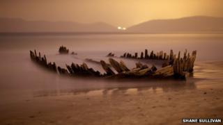 Then: The wreck of the schooner Sunbeam in a photograph taken last summer