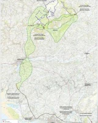 Brechfa Forest preferred route corridors map