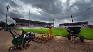 Construction work at Ravenhill rugby stadium