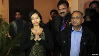 Devyani Khobragade with her father, Uttam, (right) on arrival back in Delhi, 10 Jan