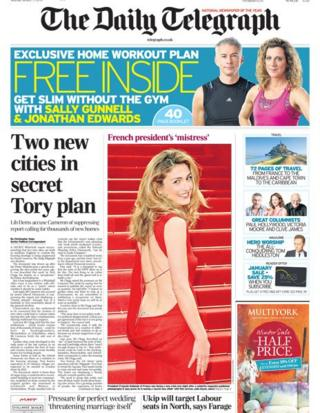 Daily Telegraph front page 11/1/14