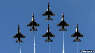 The United States Air Force Thunderbirds in Pasadena, California, on 1 January 2014