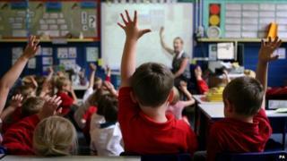 Primary school children raising their hands