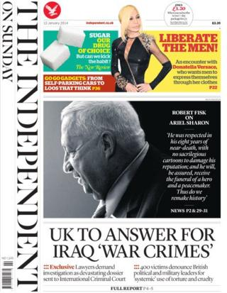 Independent on Sunday front page 12/1/14