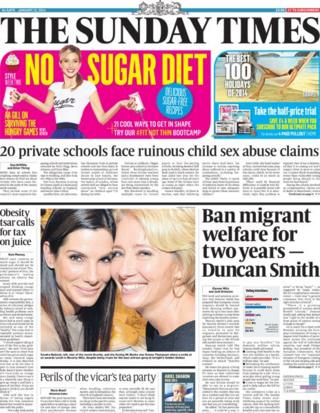 Sunday Times front page 12/1/14