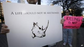 Protest outside the Dallas Convention Center where the Dallas Safari Club held its weekend show and auction