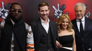 Voice judges will.i.am, Ricky Wilson, Kylie Minogue and Sir Tom Jones