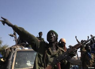 South Sudanese government soldiers in newly recaptured Bentiu, 12 January
