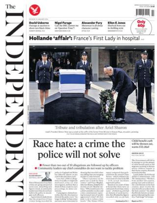 Independent front page 13/1/14