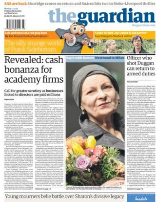 Guardian front page 13/1/14