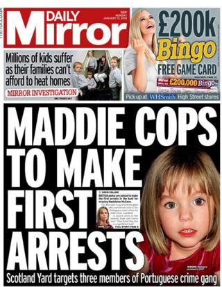 Daily Mirror front page 13/1/14