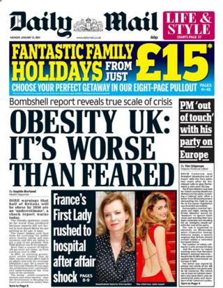 Daily Mail front page 13/1/14