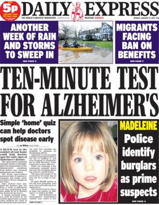 Daily Express front page 13/1/14