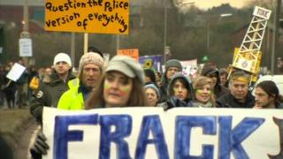 Barton Moss protest march